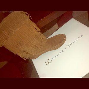 Boots Tag reads: Lauren Conrad's THIA chestnut